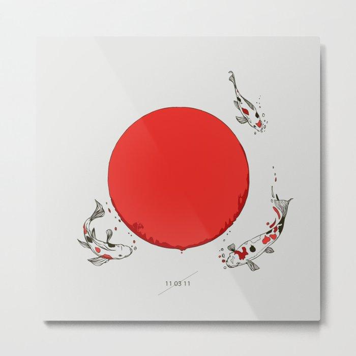 Koi and Sun Metal Print