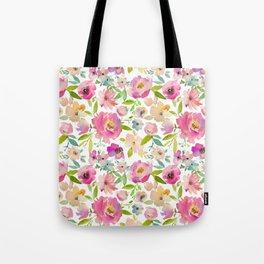 Elegant pink lavender green watercolor botanical floral Tote Bag