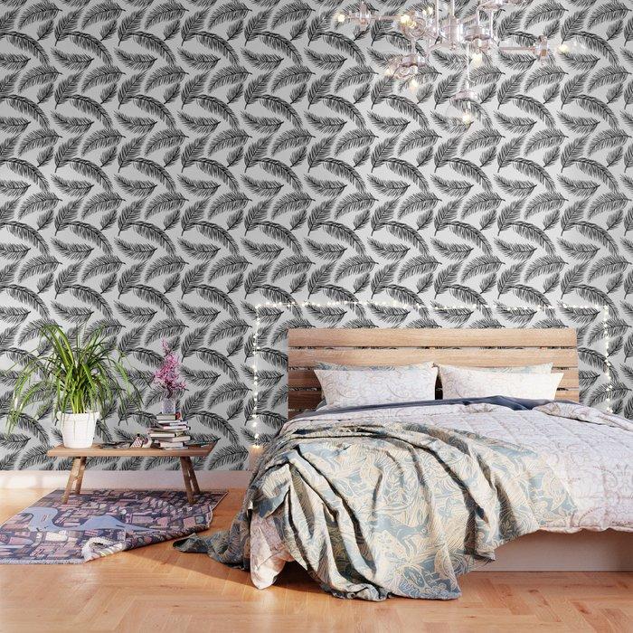 Black White Palm Leaves Wallpaper