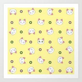 Glamour Cat Yellow Art Print