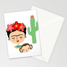 Frida Kahlo inspired illustration, with Monkey and Cactus Stationery Cards
