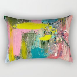 Collision - a bright abstract with pinks, greens, blues, and yellow Rectangular Pillow