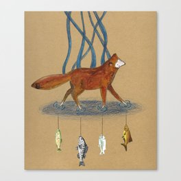 Fox and Fish Canvas Print