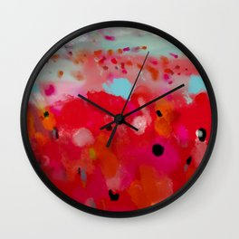 red poppies field abstract Wall Clock