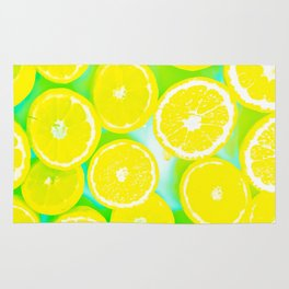 juicy yellow lemon pattern abstract with green background Rug