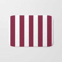 Claret purple - solid color - white vertical lines pattern Bath Mat