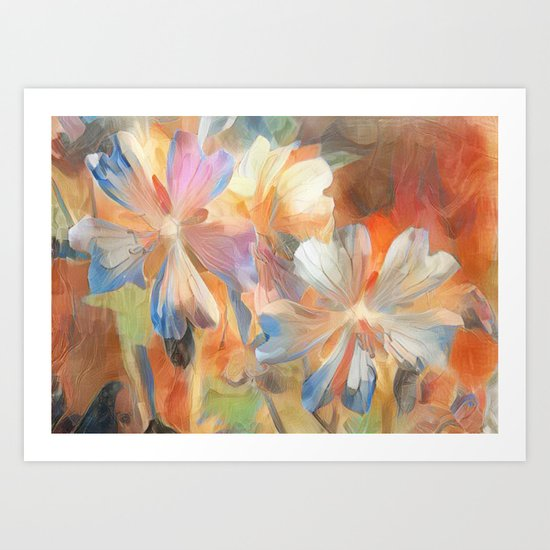 Abstract Wild Geraiums Art Print