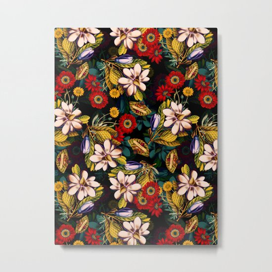Japanese Floral Pattern Metal Print