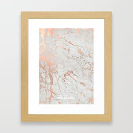 Rose gold marble Framed Art Print
