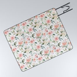 Sunny Floral Pastel Pink Watercolor Flower Pattern Picnic Blanket