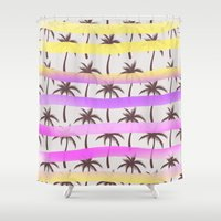 palm trees Shower Curtains featuring Palm Trees by Ornaart