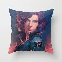 meme Throw Pillows featuring MEME 015 Black Widow by mushroomtale