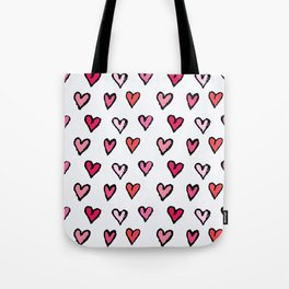Cute Girly Pink Hand Drawn Hearts on White Pattern Tote Bag