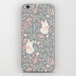 Sleeping Fox - grey iPhone Skin