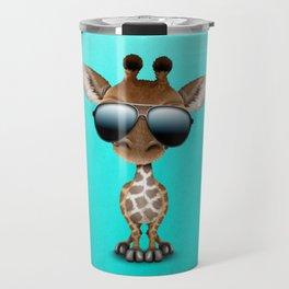 Cute Baby Giraffe Wearing Sunglasses Travel Mug
