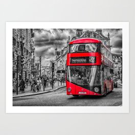 London Red Bus at Piccadilly Art Print