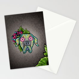 Great Dane with Floppy Ears - Day of the Dead Sugar Skull Dog Stationery Cards