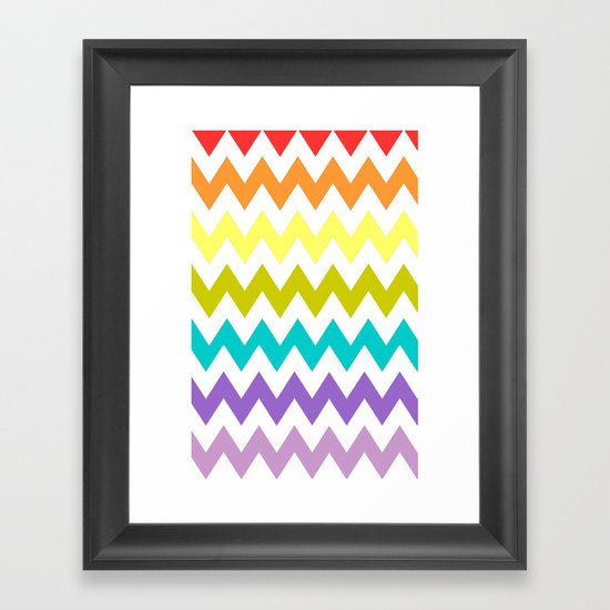 Rainbow Chevron Framed Art Print