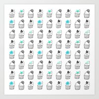 cupcakes Art Prints featuring Cupcakes by Anchobee