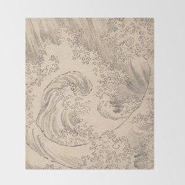Wave by Katsushika Hokusai 1760–1849, Japanese Throw Blanket