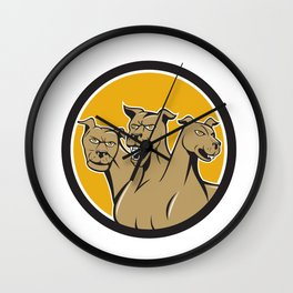 Cerberus Multi-headed Dog Circle Cartoon Wall Clock