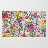 vintage flowers Area & Throw Rugs featuring Vintage flowers by Love2Snap