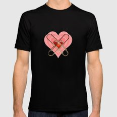 Clip Heart Valentine MEDIUM Black Mens Fitted Tee