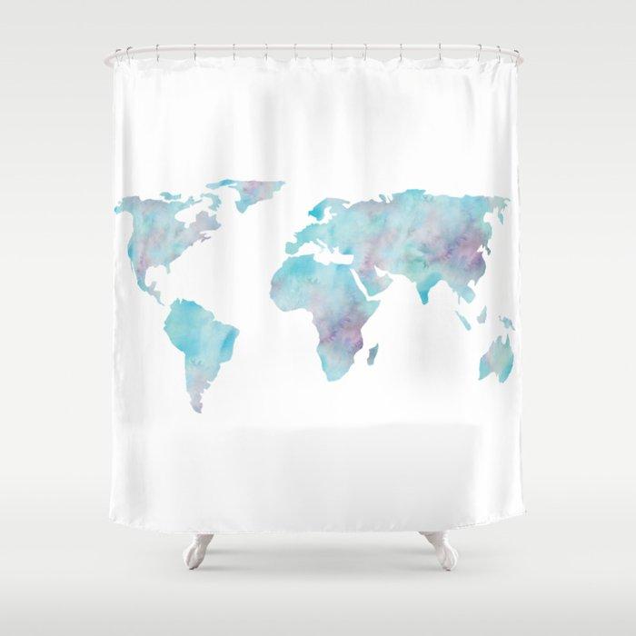 World Map Ocean Blue Shower Curtain