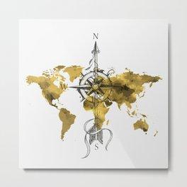 Gold World Map 2 Metal Print