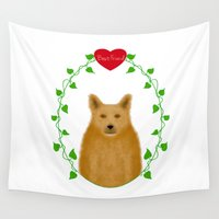 best friend Wall Tapestries featuring Best Friend - Red Heeler by Designs By Misty Blue (Misty Lemons)