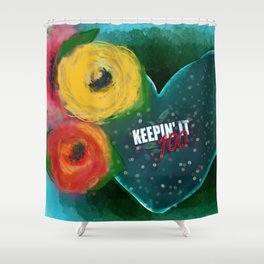 Keeping it 100 Shower Curtain