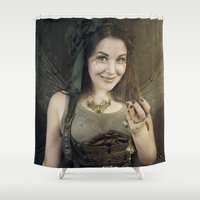 tinker bell Shower Curtains featuring Steampunk Tinker Fairy by MADmoiselle Méli