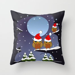 Owls with Santa hats in a snowy world Throw Pillow
