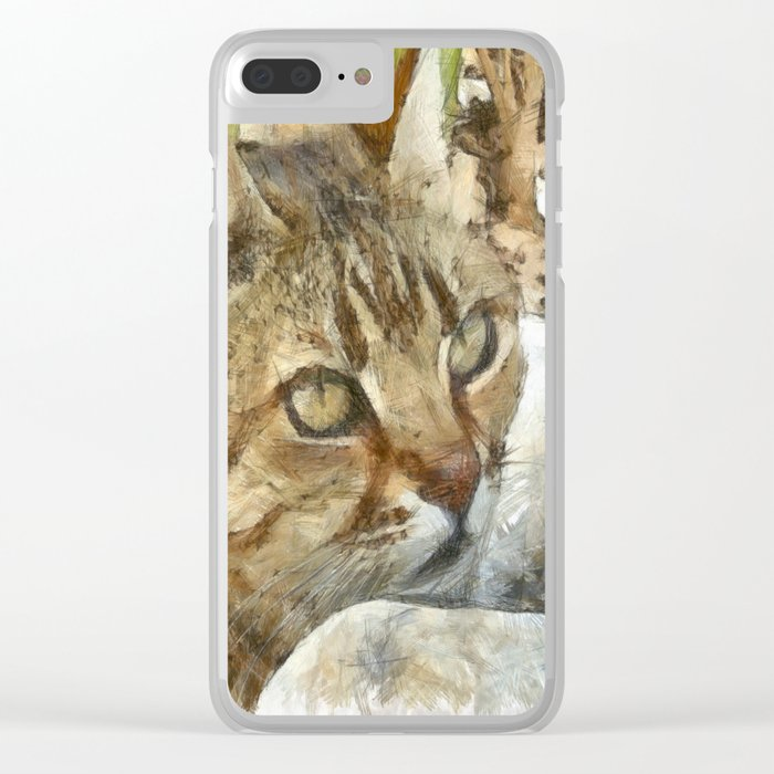 Relaxed Tabby Cat Resting In Garden Clear iPhone Case