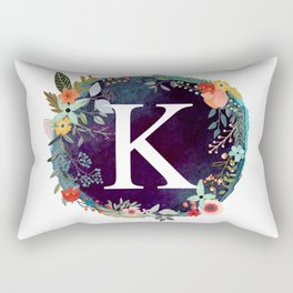 Personalized Monogram Initial Letter K Floral Wreath Artwork Rectangular Pillow