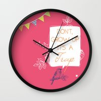 neverland Wall Clocks featuring Neverland by Little Joy Designs