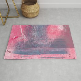 Town and the storm, pink, gray, blue Rug