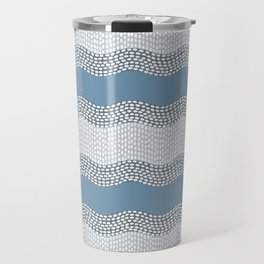 Wavy River VI in blue and grays Travel Mug
