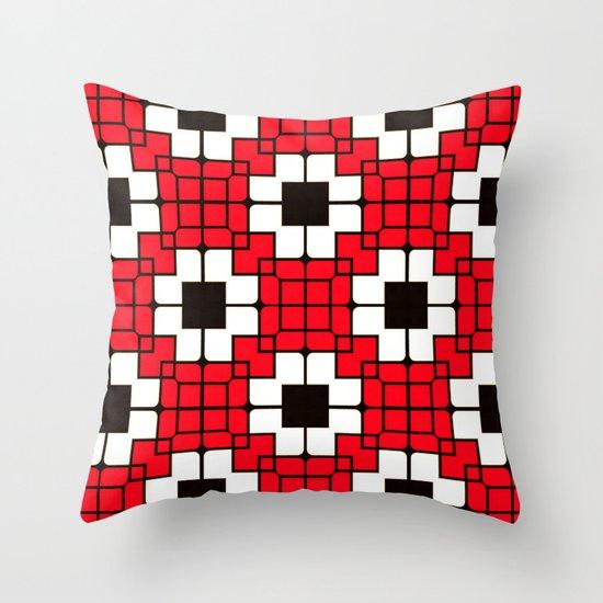 Retro Mosaic Red & Black Throw Pillow