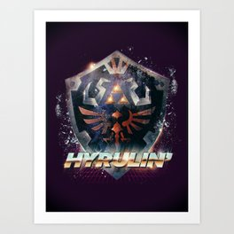 Yeah she sees my Hyrulin' - 80's Legend of Zelda Shield Art Print