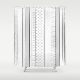 black and white pattern, dots and stripes - striped design, geometric Shower Curtain