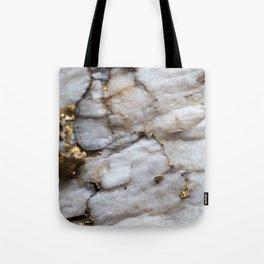 White Quartz with Gold Veining Tote Bag
