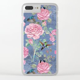 Vintage Watercolor hummingbird and English Roses on blue Background Clear iPhone Case
