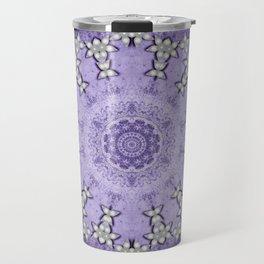 Silver flowers on deep purple textured mandala disc Travel Mug