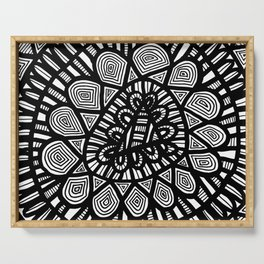 Black and White Doodle 7 Serving Tray