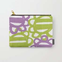 Fun Flowers Large purple green Carry-All Pouch