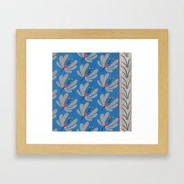 Silver Flowers – Blue Bell – Scandinavian Folk Art Framed Art Print