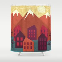 mountains Shower Curtains featuring Mountains by Kakel