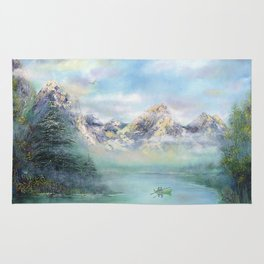 Morning in mountains. mountain landscape Rug