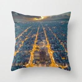 Sunset in Barcelona Throw Pillow